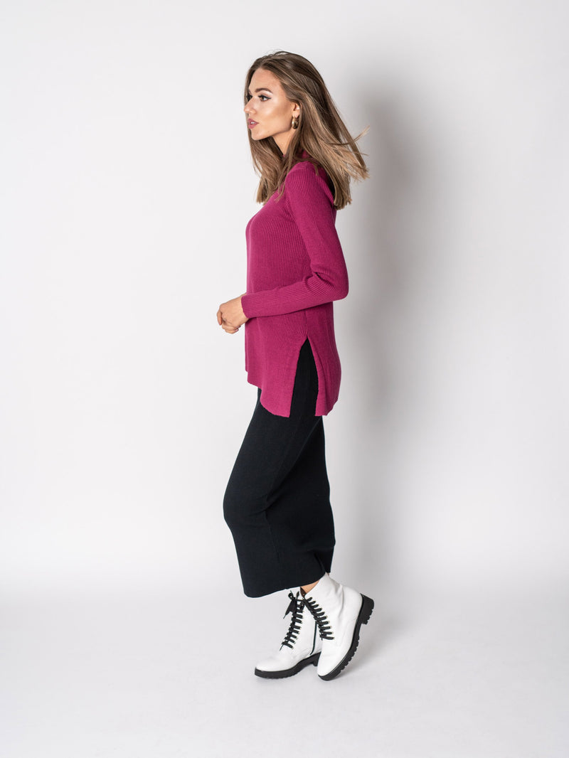 RIBBED DIAGONAL SWEATER-Fame on Central
