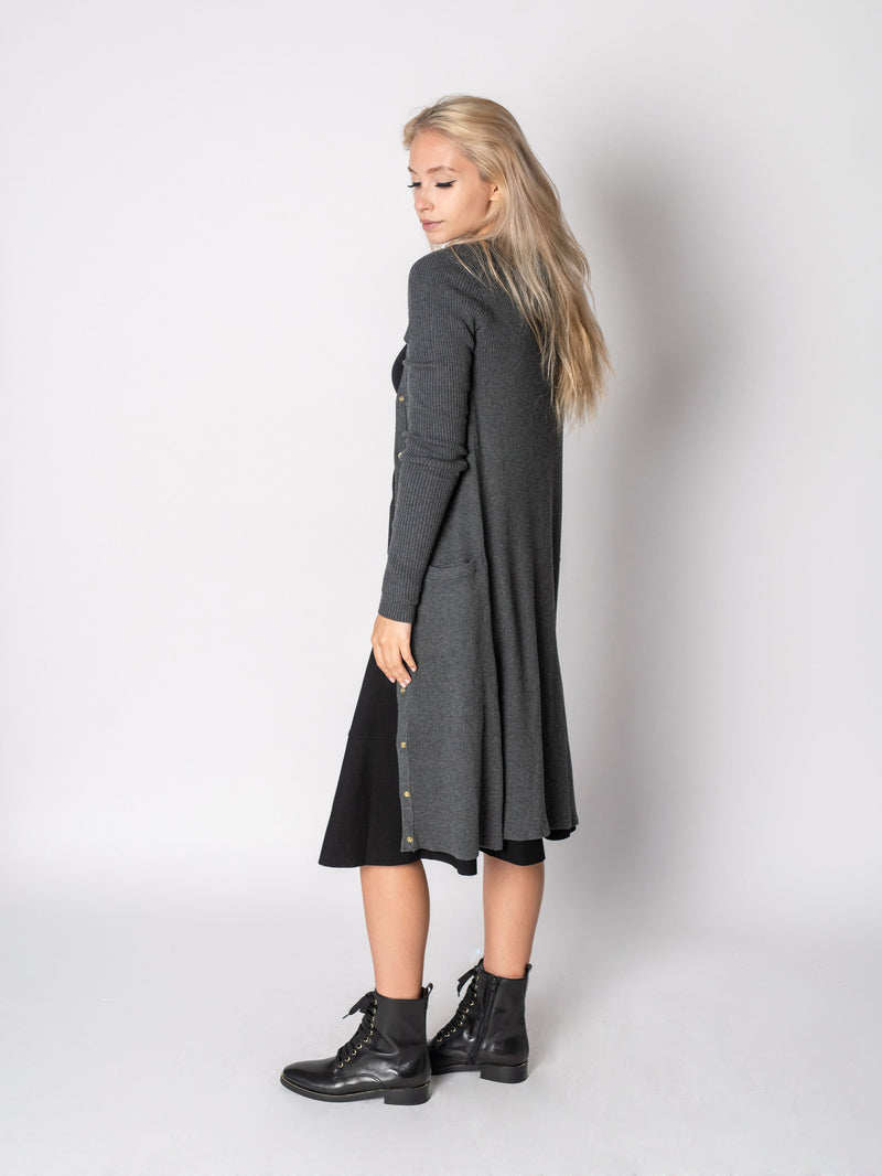 LONG RIBBED CARDIGAN-Fame on Central