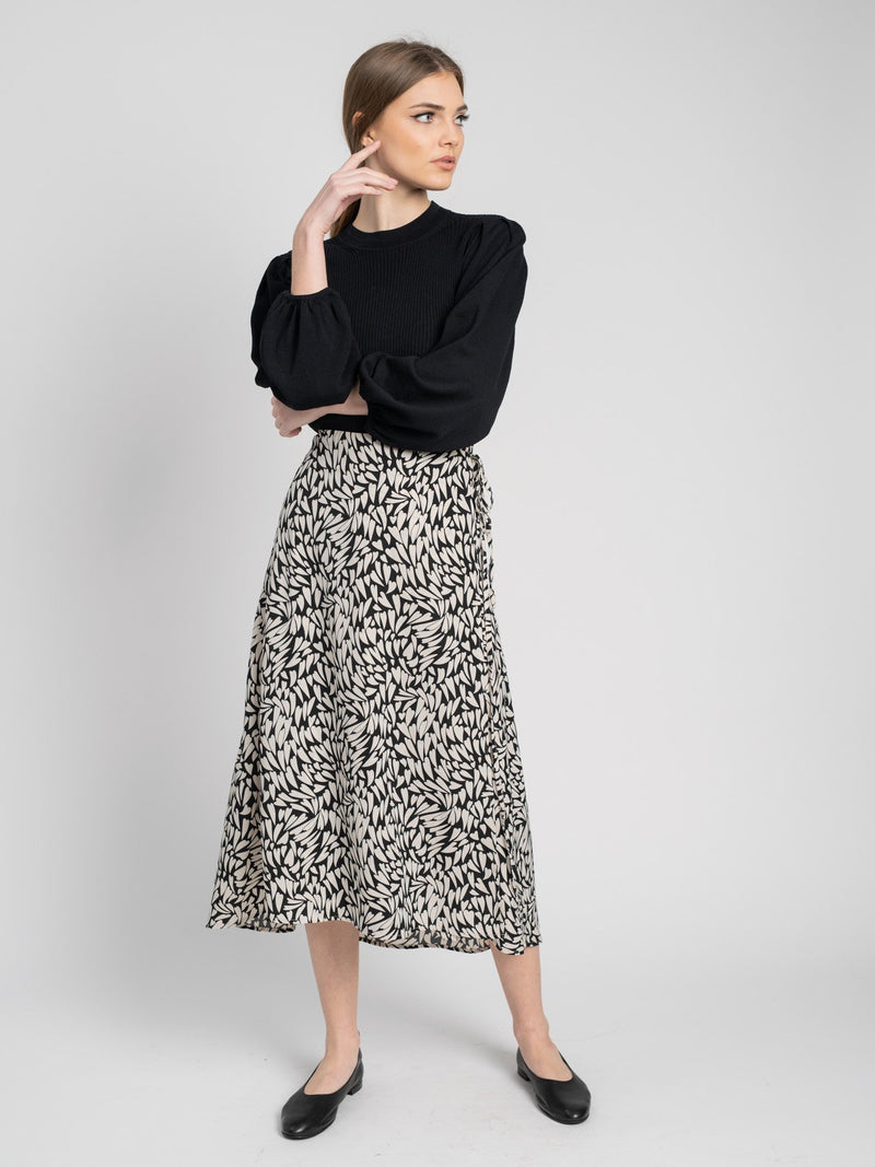 PRINTED WRAP SKIRT-Fame on Central