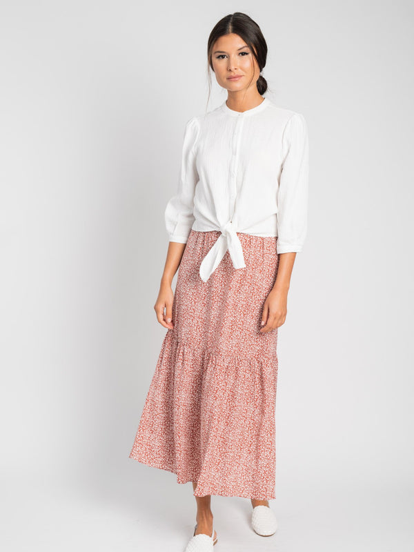 PRINTED RUFFLE SKIRT-Fame on Central