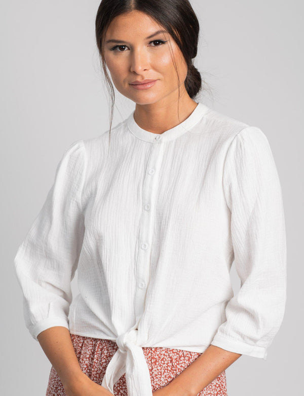 TEXTURED TIE BLOUSE-Fame on Central