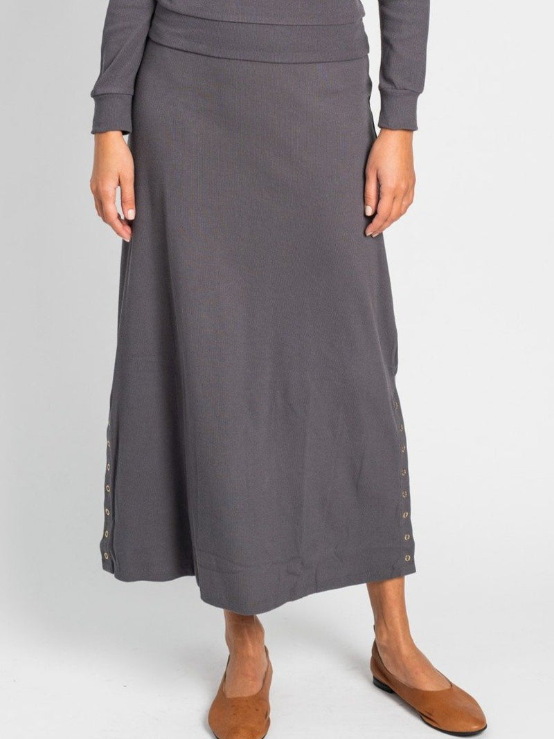 RIBBED SNAP SKIRT-Fame on Central