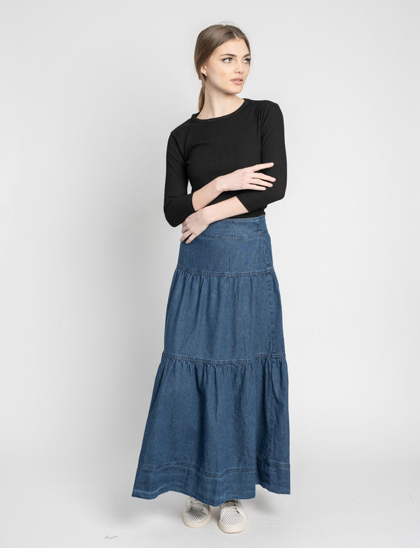 TIERED DENIM SKIRT-LONG