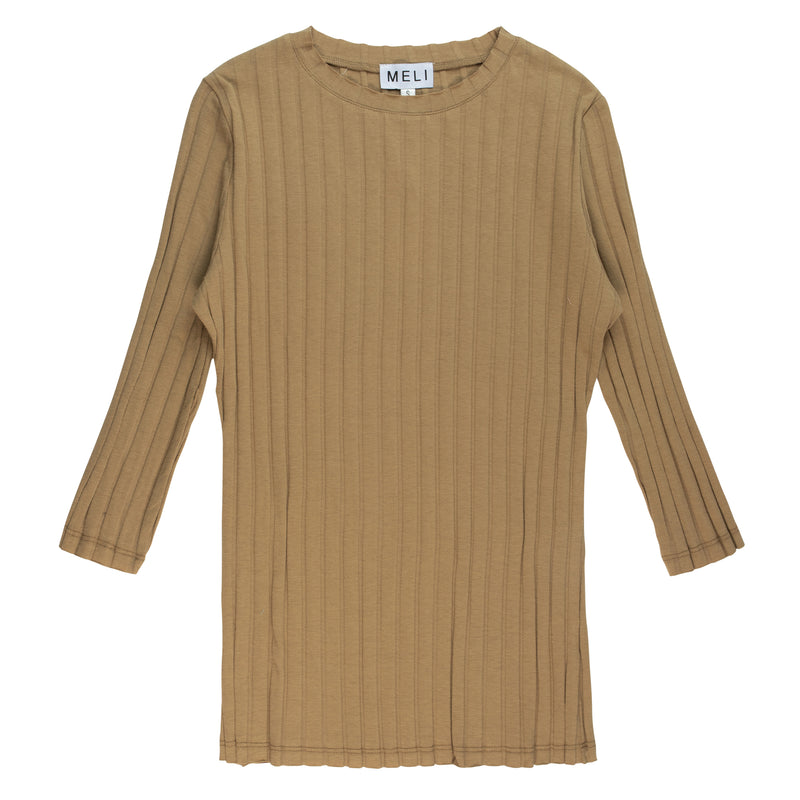 RIBBED THUMBHOLE TEE-3/4 SLEEVE