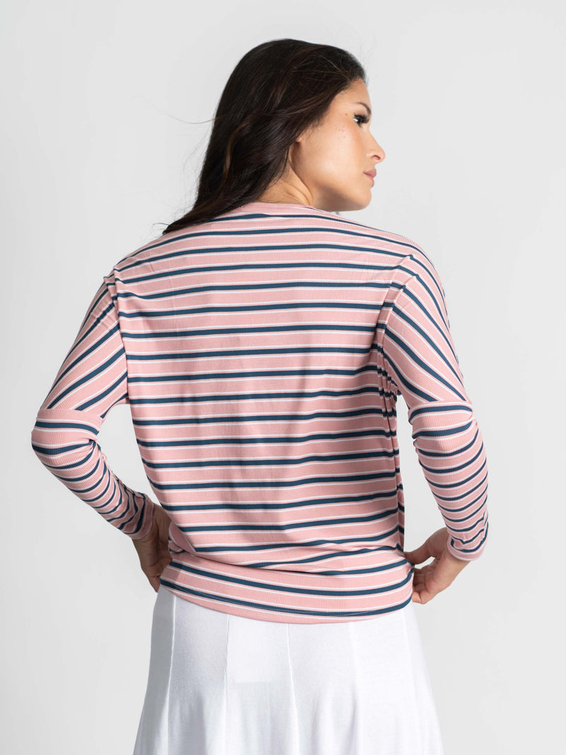 STRIPED DOLMAN V TEE-ADDITIONAL COLORS