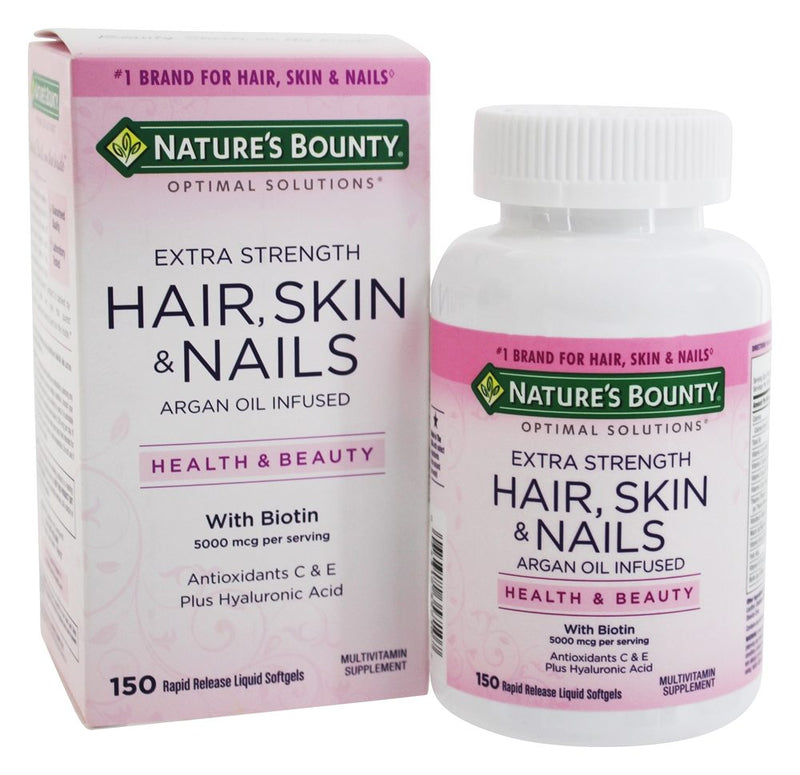 NATURE'S BOUNTY Pack Of 150 Softgels Extra Strength Hair, Skin & Nails