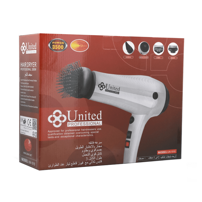 United Professional 2 in 1 Hair Dryer and Hair Styler - White - UN-1010