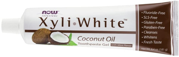Now Foods Solutions XyliWhite Toothpaste GEL Coconut Oil MINT Flavor - 181g