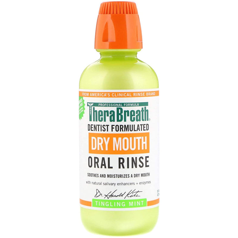 Thera Breath Dry Mouth Oral Rinse Tingling Mint, 16 Oz 473 ml