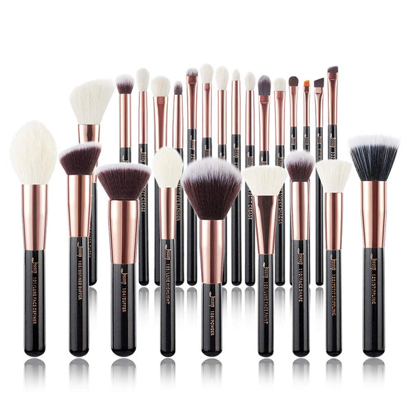 Jessup Brand 25pcs Professional Makeup Brush set Beauty Cosmetic Foundation Power Blushes eyelashes Lipstick Natural-Synthetic Hair Brushes set (Black/Rose Gold)