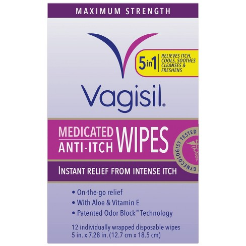 Vagisil Maximum Strength Anti-Itch Medicated Wipes with Odor Block Protection - 12ct