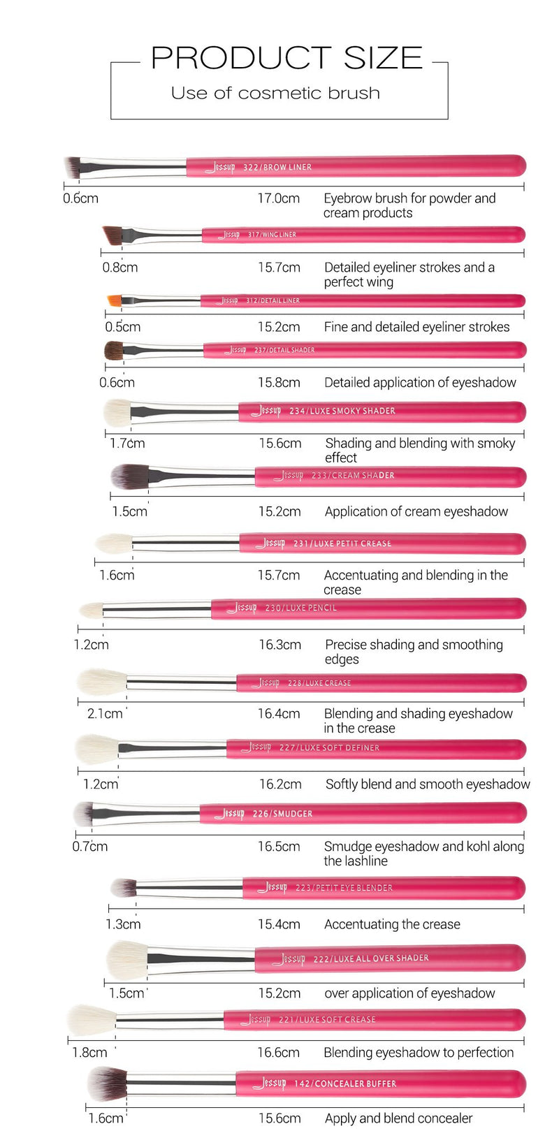 Jessup  beauty  INDIVIDUAL EYEBRUSHES 15PCS T197