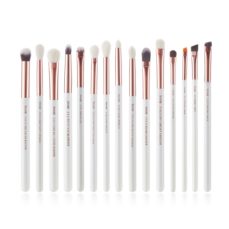 Jessup  beauty INDIVIDUAL EYEBRUSHES White/Rose Gold 15PCS T217