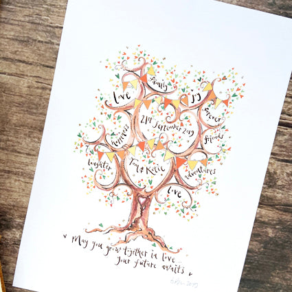 Autumn Colours Wedding Gift - The Illustrated Tree Co