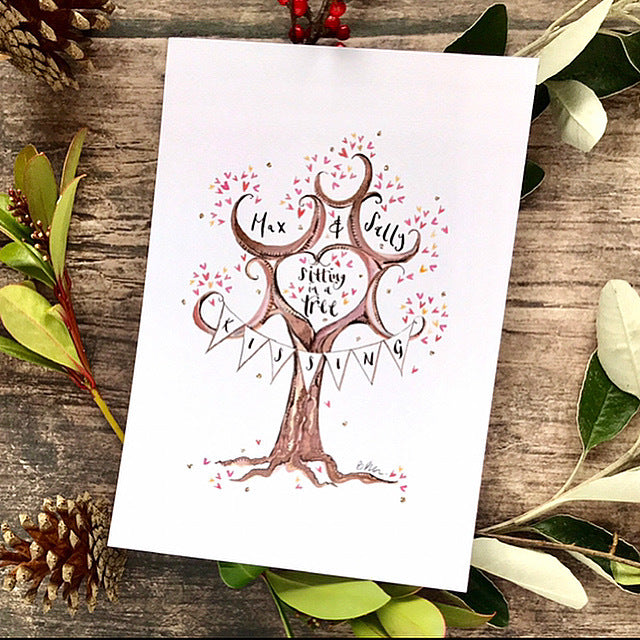 Valentine's Personalised Print Gift, You and Me sitting in a tree, k i s s i n g - The Illustrated Tree Co