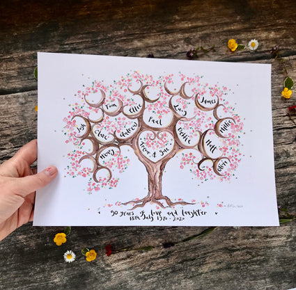 Cherry Blossom Anniversary Tree for 3 siblings - The Illustrated Tree Co