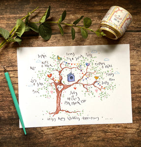 Beautiful Birds, Anniversary Tree - The Illustrated Tree Co