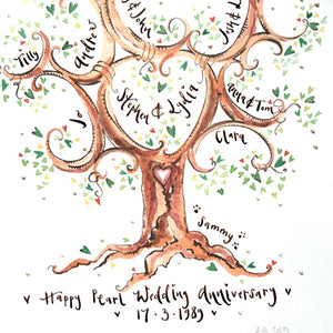 Tall Green Anniversary Tree - The Illustrated Tree Co