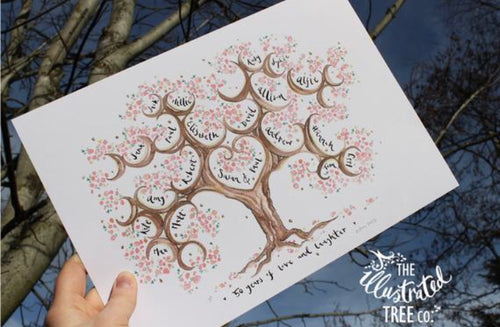 Cherry Blossom Anniversary Tree for 4 siblings or 2 siblings with partners - The Illustrated Tree Co