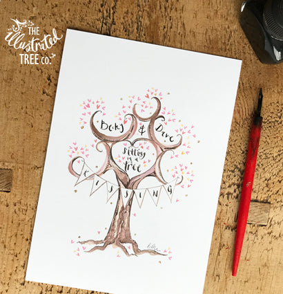 Kissing in tree - The Illustrated Tree Co