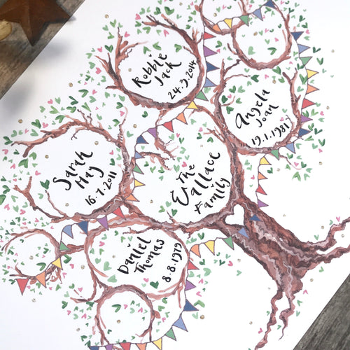 Colourful Family Tree Unique Keepsake - The Illustrated Tree Co