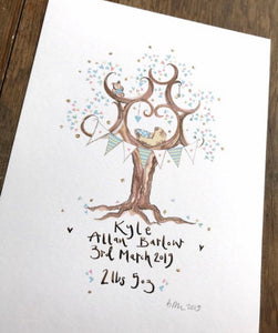 New Born Baby Gift in Pastel Blue - The Illustrated Tree Co