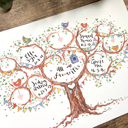 All our Favourites, Gift for Grandparents, - The Illustrated Tree Co