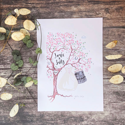 Pink Blossom Wedding Gift, grey or navy kilt and bridal gown - The Illustrated Tree Co