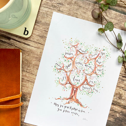 Wedding Gift With Pale Pink Bunting - The Illustrated Tree Co
