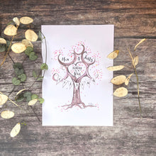 Load image into Gallery viewer, Valentine's Personalised Print Gift, You and Me sitting in a tree, k i s s i n g - The Illustrated Tree Co