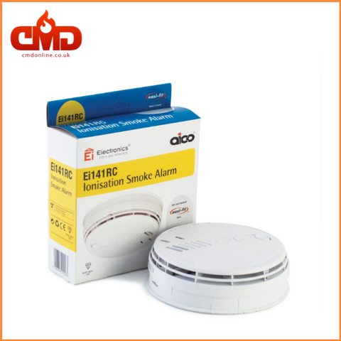 Ei141RC Ionisation Smoke Alarm - Mains Voltage with 9v Battery Backup Battery - CMD Online