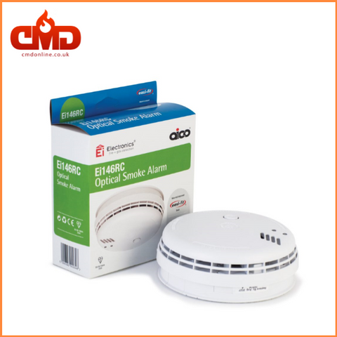 Ei146RC Optical Smoke Alarm - Mains Voltage with 9v Battery Backup Battery - CMD Online