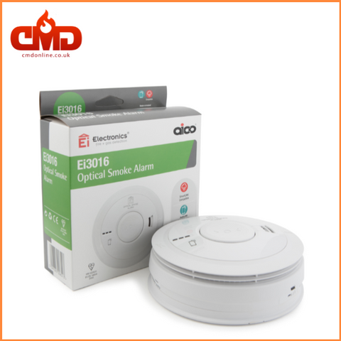 Ei3016 Optical Smoke Alarm - Mains Powered with 10yr Lithium Backup Battery - CMD Online