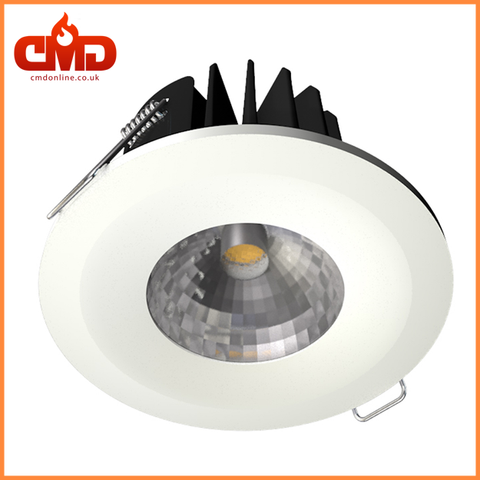Fire-Rated 8W COB LED Downlight Dimmable Warm White 3000K - Bezel Options - CMD Online