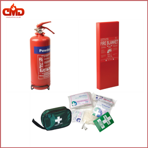 Home Safety Kit 1.0 (1Kg Powder Extinguisher, Fire Blanket and Small First Aid Kit) - CMD Online