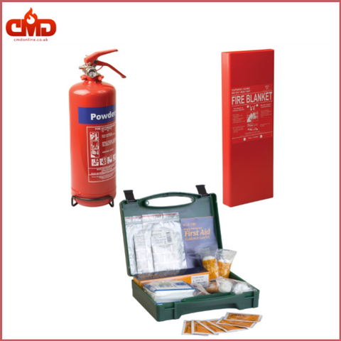 Home Safety Kit 1.5 (1Kg Powder Extinguisher, Fire Blanket and First Aid Kit for 1 to 5 people) - CMD Online
