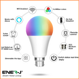 Wifi Smart LED Bulbs 9W A60 B22 RGB + White - SHA5262 - CMD Online