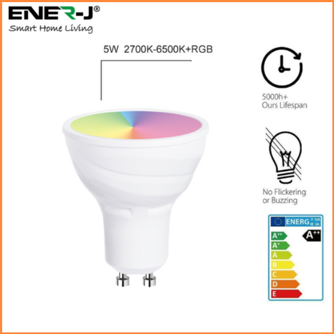 Wifi Smart LED GU10 Bulbs 5W RGB + White - SHA5286 - CMD Online