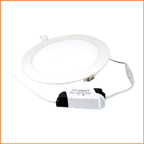 LED Circular Downlight Panels 15w, 18w and 20w White Trim 3000k - IP20 - CMD Online
