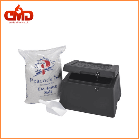 Salt and Grit Bin with White De-Icing Salt 25kg - Clean Ice Clearing Salt - CMD Online