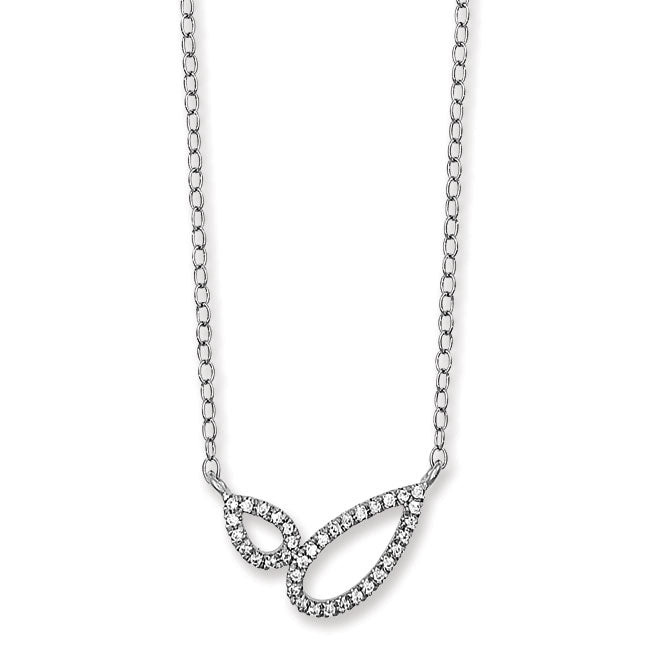 Sterling Silver Crystal Pear Shaped Necklace