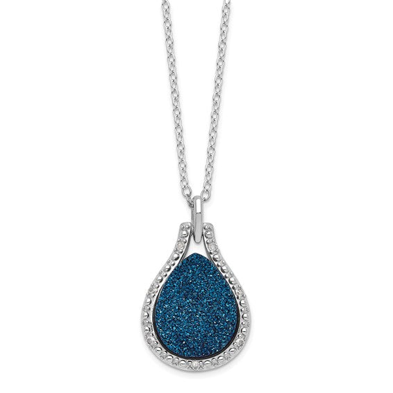 Blue Druzy Quartz and Crystal Pendant