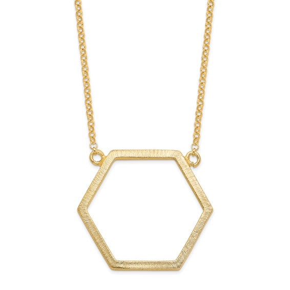 SALE Gold Plated Brushed Hexagon Necklace