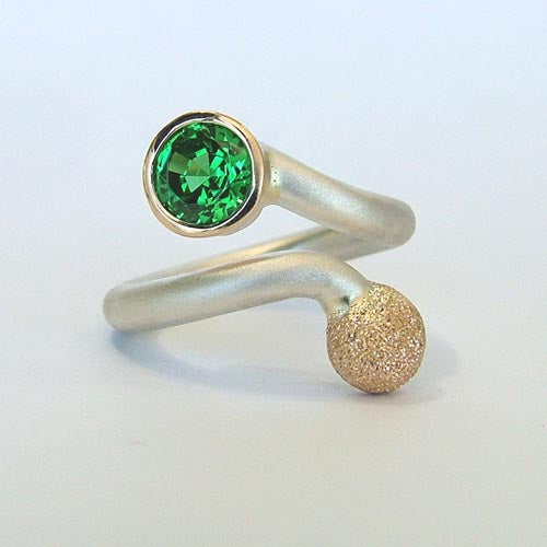 Sterling Silver 14k Created Emerald Custom Ring