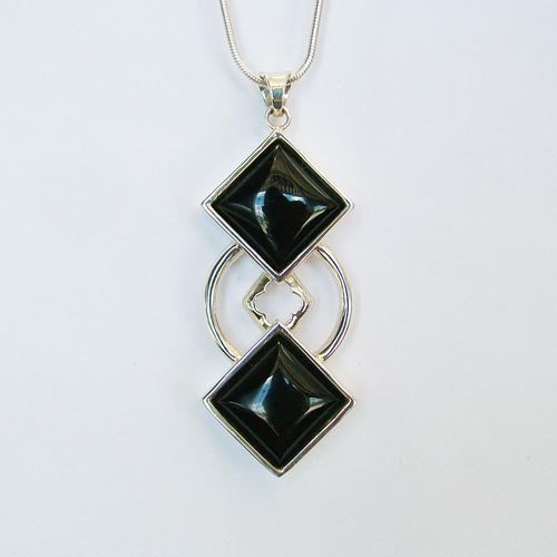 Sterling Silver Custom Onyx Pendant