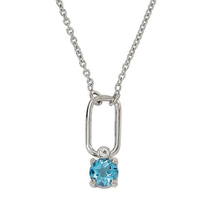 Sterling Silver Blue & White Topaz Paperclip Necklace