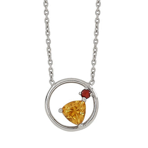 Sterling Silver Citrine & Garnet Necklace