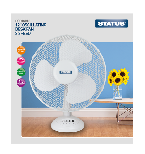 "Status 12"" High Quality Desk Fan  Radford Vac Centre"