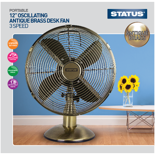 "Status 12"" High Quality Antique (bronze) Desk Fan  Radford Vac Centre"