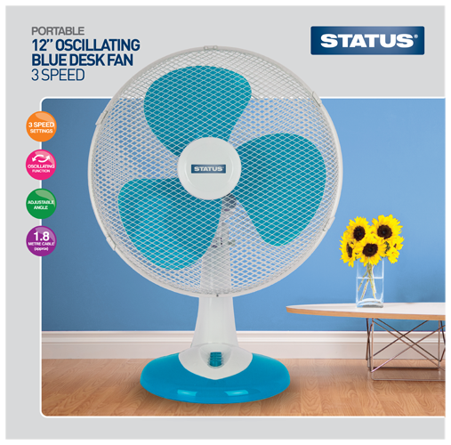 "Status 12"" High Quality Aqua (Blue) Desk Fan  Radford Vac Centre"